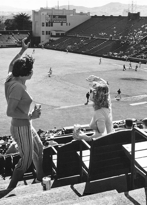 1950's Greeting Card featuring the photograph SF Giants Fans Cheer by Underwood Archives