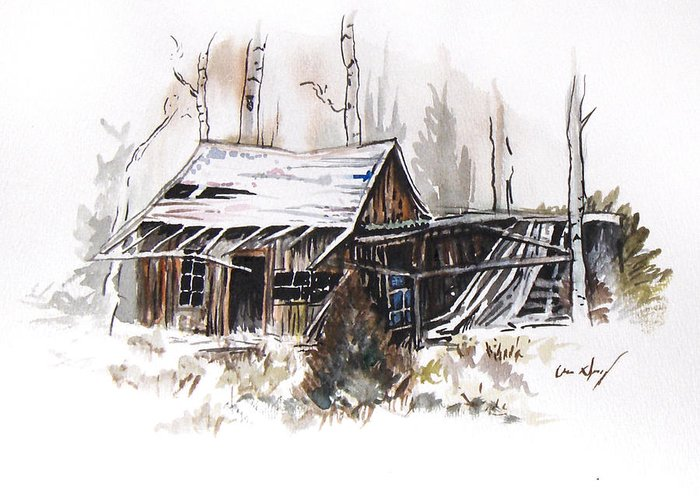 Shack Greeting Card featuring the painting Shack by Aaron Spong