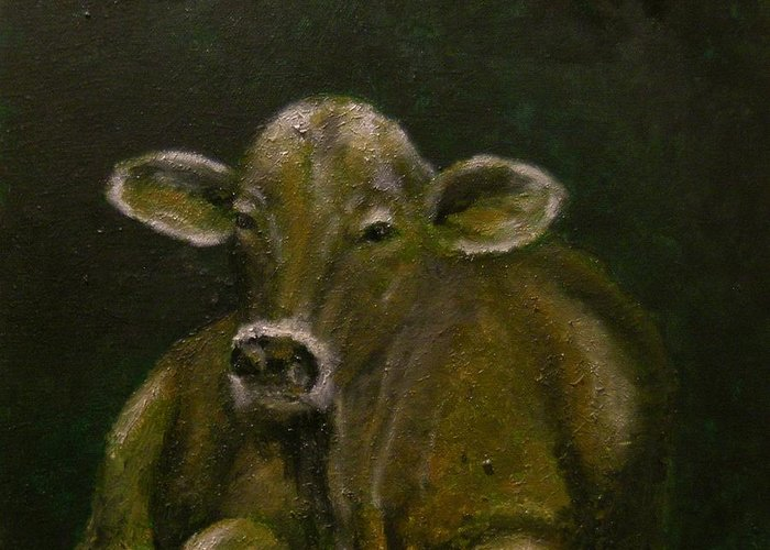 Cow Greeting Card featuring the painting Shades by Kathy Carothers