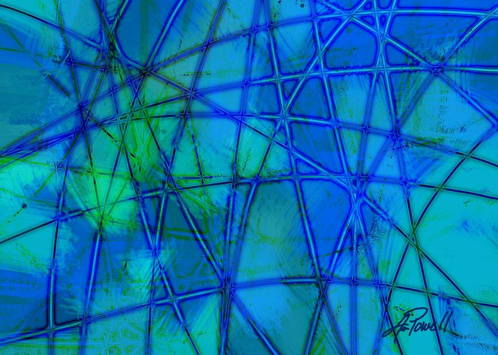 Blue Greeting Card featuring the digital art Shades Of Blue  by Ann Powell