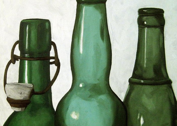 Glass Bottle Paintings Greeting Cards
