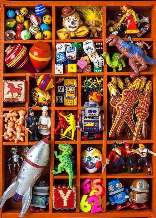 Shadow Greeting Card featuring the photograph Shadow Box Full Of Toys by Garry Gay