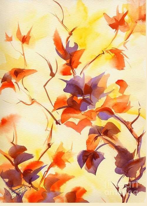 Landscape Greeting Card featuring the painting Shadow Leaves by Summer Celeste