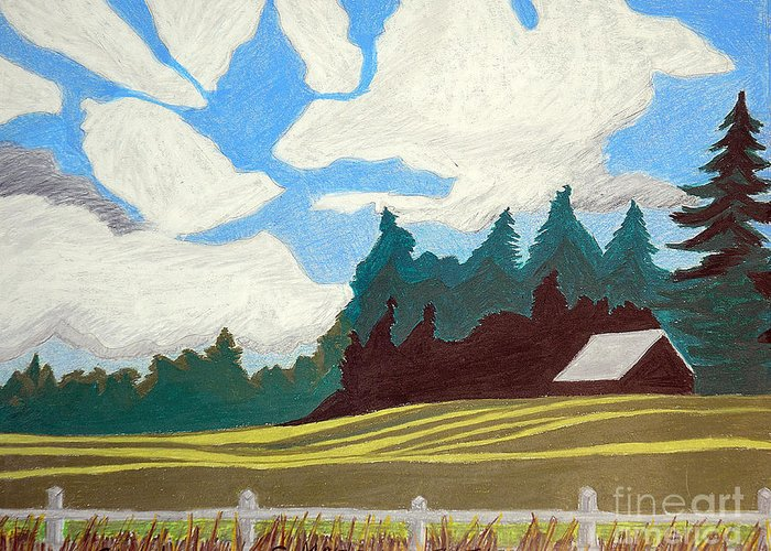 Agriculture Greeting Card featuring the painting Shadows by Cora Eklund