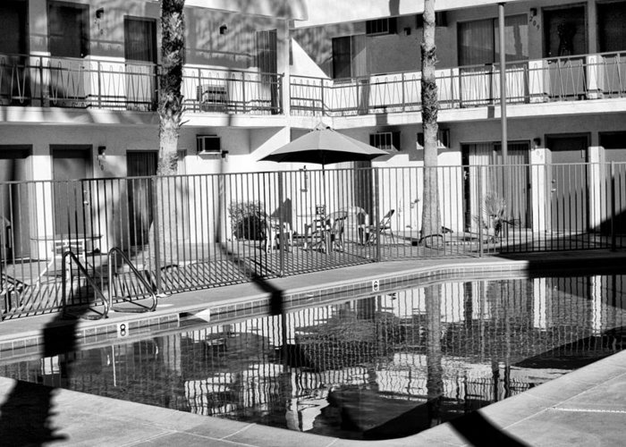 Swimming Pool Greeting Card featuring the photograph Shadows In Paradise Palm Springs by William Dey