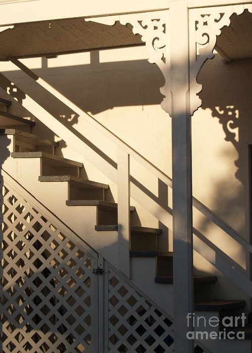 Stairs Greeting Card featuring the photograph Shadowy Lambertville Stairwell by Anna Lisa Yoder