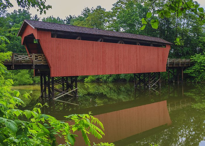Ohio Greeting Card featuring the photograph Shaeffer Or Campbell Covered Bridge by Jack R Perry