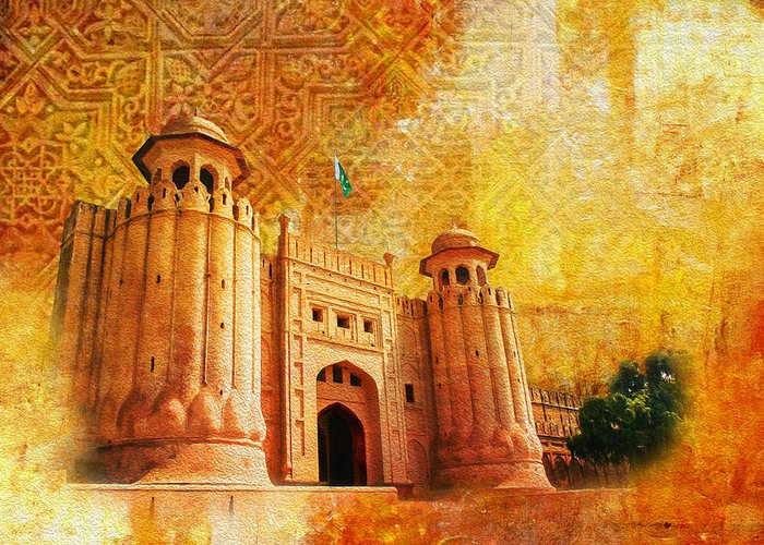 Pakistan Greeting Card featuring the painting Shahi Qilla Or Royal Fort by Catf