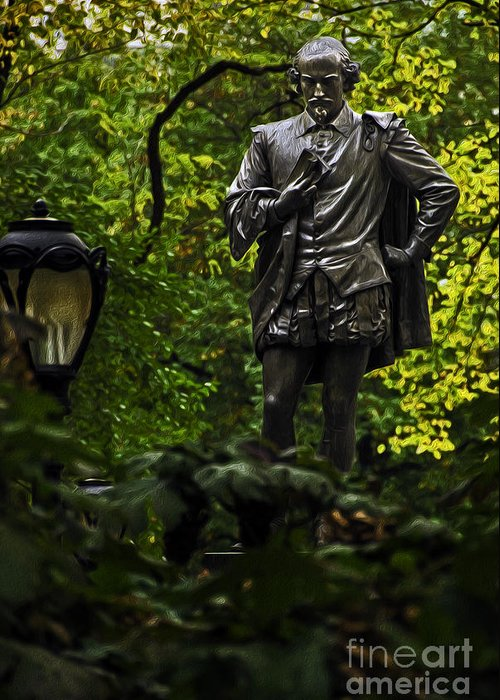 Statue Greeting Card featuring the photograph Shakespeare In Central Park by Phil Cardamone