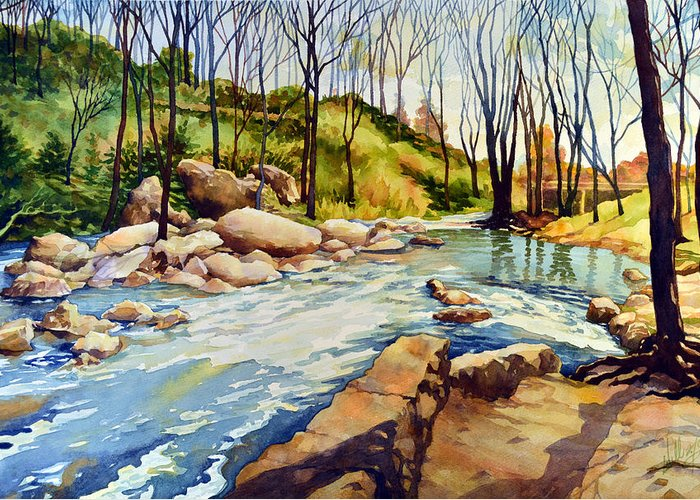 Watercolor Greeting Card featuring the painting Shallow Water Rapids by Mick Williams