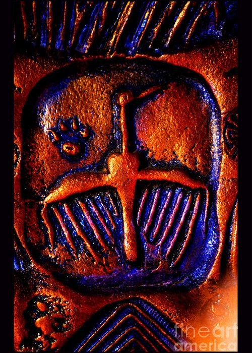 Cougar Paw Print Petroglyph Greeting Card featuring the photograph Shamanic Desert by Susanne Still