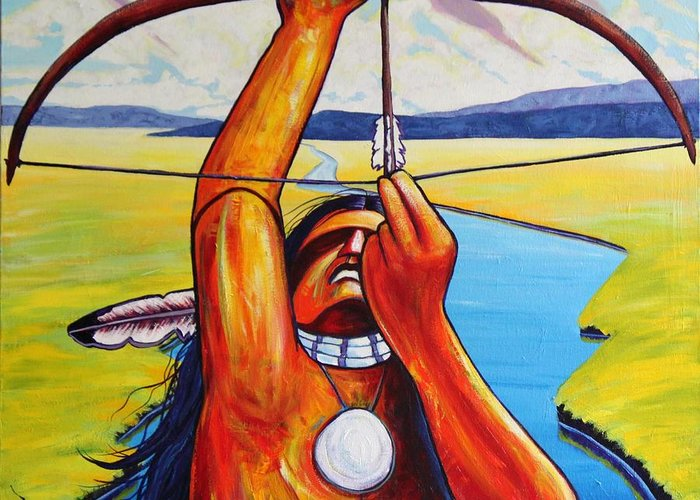 Native American Greeting Card featuring the painting Shamans Prayer by Joe Triano