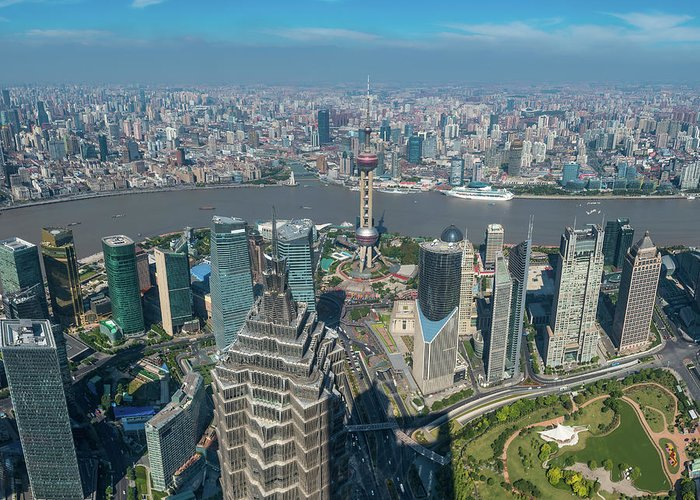 Chinese Culture Greeting Card featuring the photograph Shanghai Aerial View Over Pundong by Fotovoyager