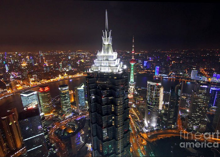 Shanghai Greeting Card featuring the photograph Shanghai At Night by Lars Ruecker