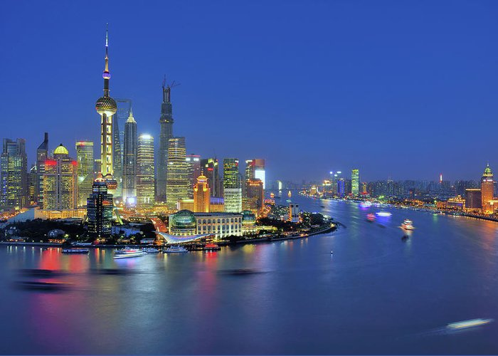 Clear Sky Greeting Card featuring the photograph Shanghai Cityscape Across Huangpu River by Wei Fang