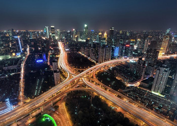 Built Structure Greeting Card featuring the photograph Shanghai Highway Stack Interchange And by Hugociss