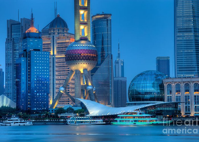 Cityscape Greeting Card featuring the photograph Shanghai Pudong by Fototrav Print