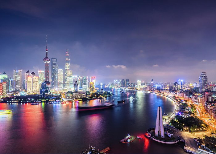 Downtown District Greeting Card featuring the photograph Shanghai Skyline At Night by Yongyuan Dai