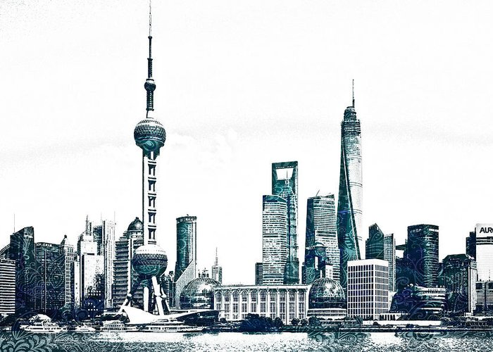 Chicago Skyline Greeting Card featuring the drawing Shanghai Skyline by Celestial Images