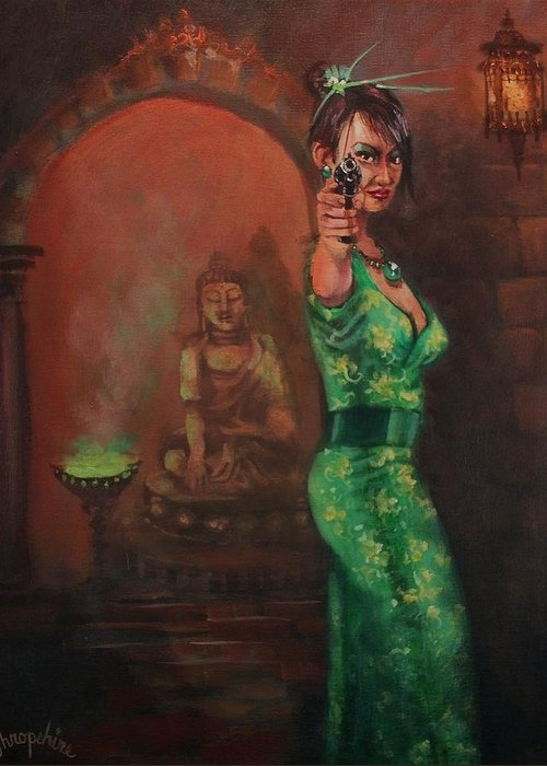 Art Noir Greeting Card featuring the painting Shanghai Surprise by Tom Shropshire