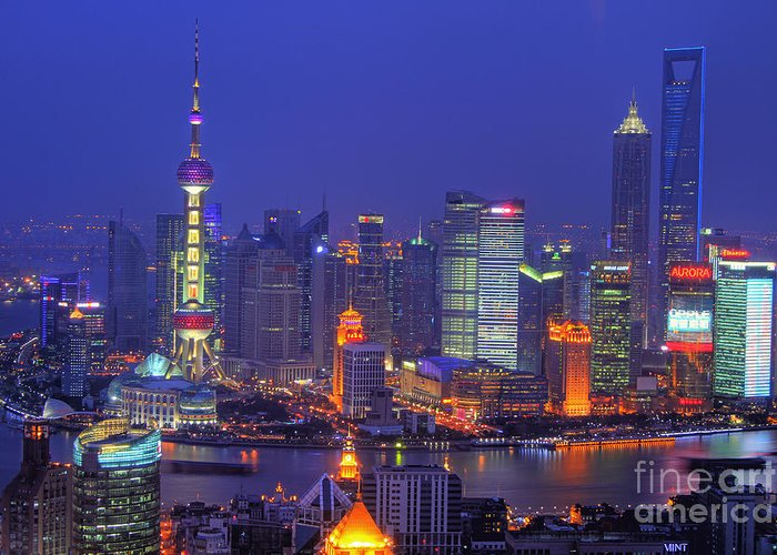 Shanghai Greeting Card featuring the photograph Shanghai's Skyline by Lars Ruecker
