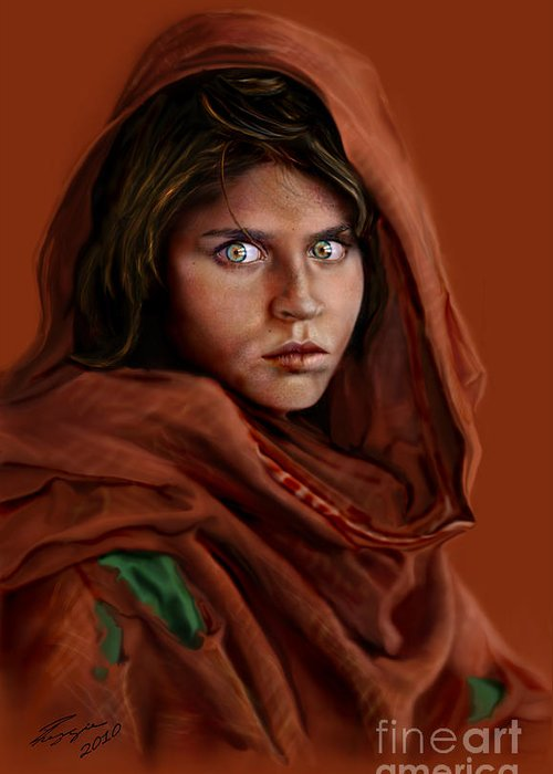 Afghan Girl Greeting Card featuring the painting Sharbat Gula by Reggie Duffie