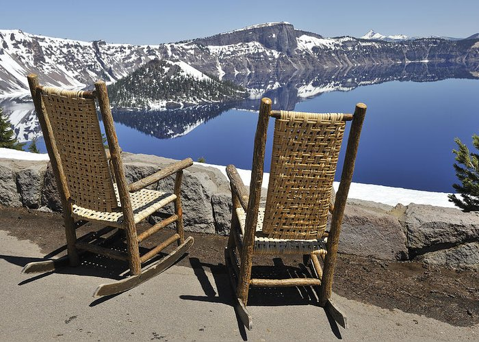 Crater Lake Greeting Card featuring the photograph Share A Moment At Crater Lake Oregon by Clay and Gill Ross
