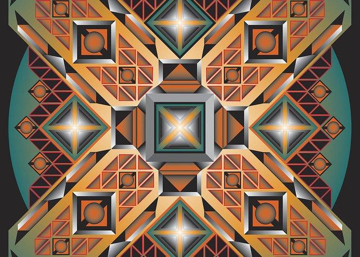 Optical Geometric Visual Digital Art Giclee Print Greeting Card featuring the digital art Sharp Optical Art K by James Sharp