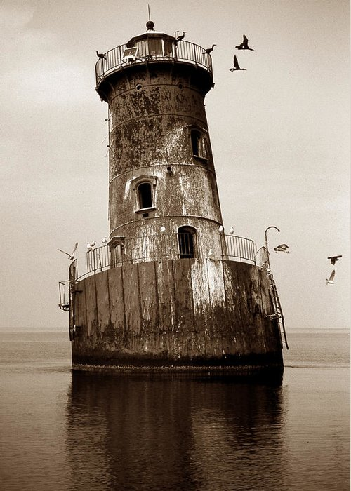 Lighthouse Greeting Card featuring the photograph Sharps Island Lighthouse by Skip Willits