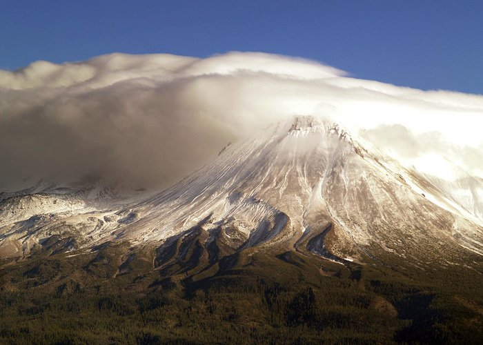 Mt Shasta Greeting Card featuring the photograph Shasta Storm by Bill Gallagher