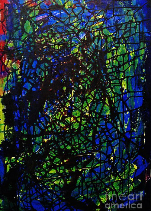 Abstract Greeting Card featuring the painting Shattered by Jeff Barrett