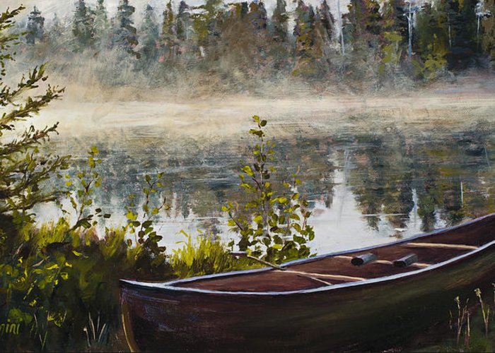 Canoe Greeting Card featuring the painting Shavasana by Mary Giacomini
