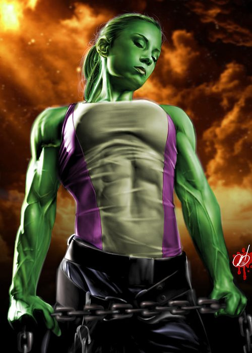 She Greeting Card featuring the painting She-hulk 2 by Pete Tapang