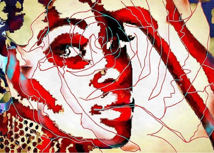 She Pop Art Rose Greeting Card featuring the digital art She Pop Art Rose by Catherine Lott