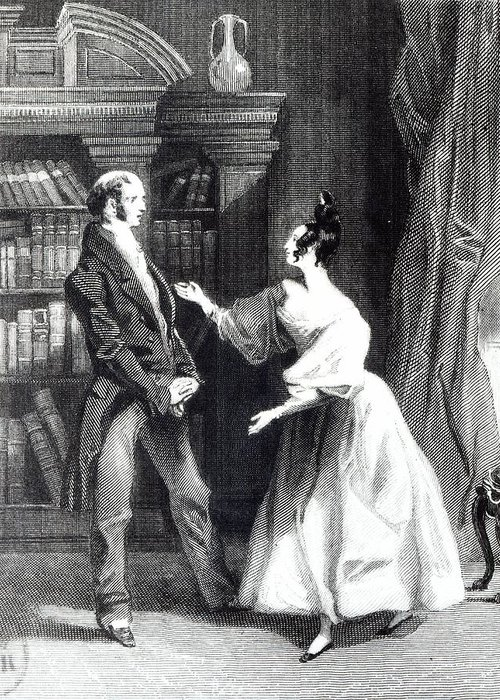 Orgueil Et Prejuge; Talking; Regency Costume; Male; Female; Discussion; Talking; Interior; Bookcase; Shelves; Bookshelves; Gesture Greeting Card featuring the drawing She Then Told Him What Mr Darcy Had Voluntarily Done For Lydia by William Greatbach