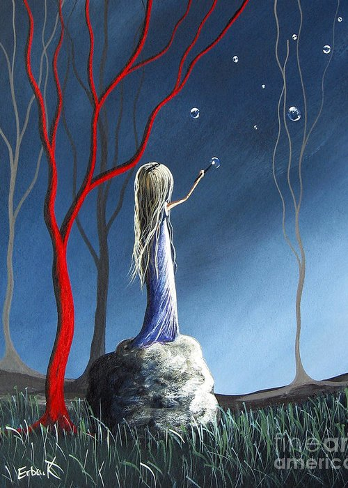 Trees Greeting Card featuring the painting She Whispers Her Dreams By Shawna Erback by Shawna Erback