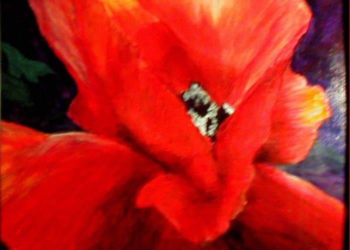 Floral Greeting Card featuring the painting She Wore Red Ruffles by Gail Kirtz