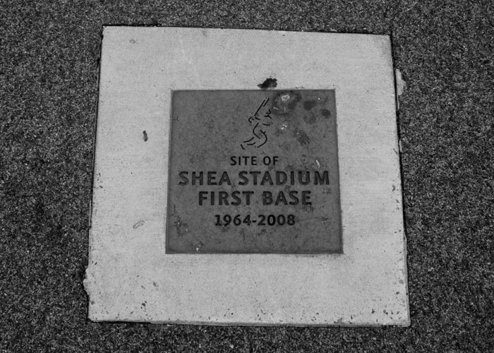 Shea Stadium Greeting Card featuring the photograph Shea Stadium First Base In Black And White by Rob Hans