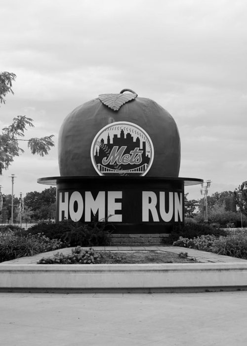 Shea Stadium Greeting Card featuring the photograph Shea Stadium Home Run Apple In Black And White by Rob Hans
