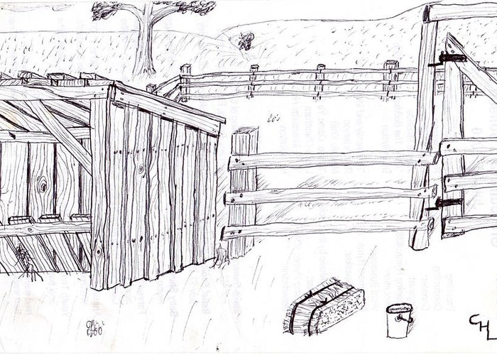Landscape Greeting Card featuring the drawing Shed 1 by Clark Letellier