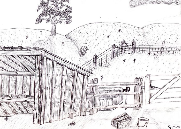 Landscape Greeting Card featuring the drawing Shed 2 by Clark Letellier