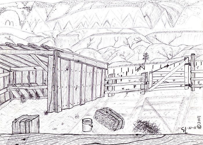 Landscape Greeting Card featuring the drawing Shed 4 by Clark Letellier