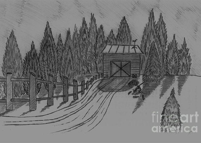 Sharp Shadows- Snow - Wood- Shed- Rooster Weather Vains-graphite Pencil Greeting Card featuring the drawing Shed In The Snow by Neil Stuart Coffey