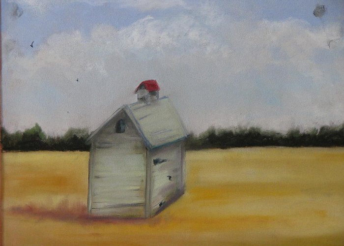 Yellow Greeting Card featuring the pastel Shed On Yellow Field by Iris Nazario Dziadul