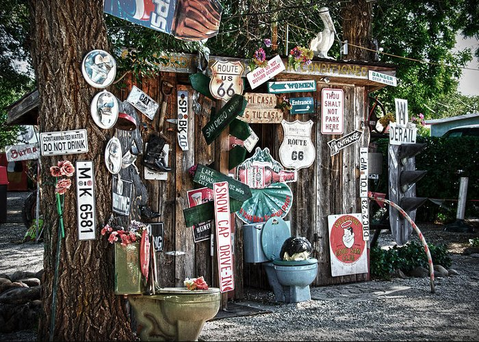 Shed Greeting Card featuring the photograph Shed Toilet Bowls And Plaques In Seligman by RicardMN Photography