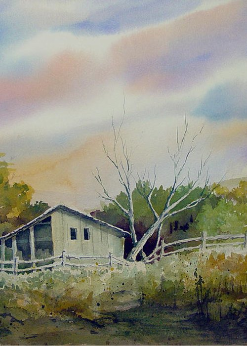 Shed Greeting Card featuring the painting Shed With A Rail Fence by Sam Sidders
