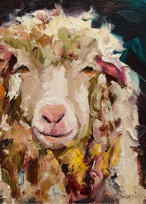Sheep Greeting Card featuring the painting Sheep Alert by Diane Whitehead