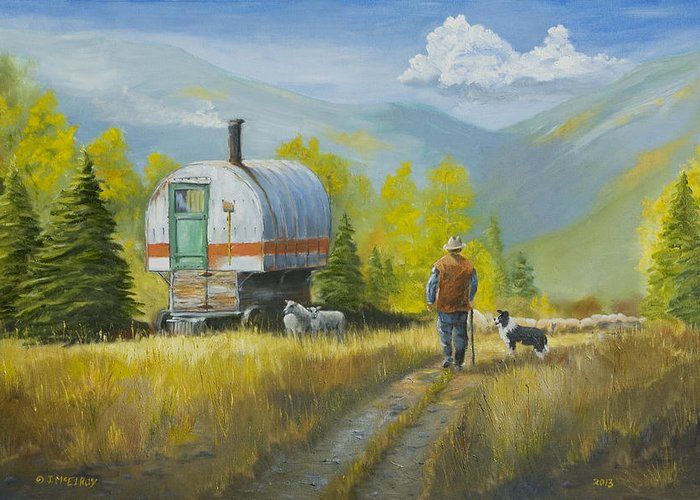 Sheep Greeting Card featuring the painting Sheep Camp by Jerry McElroy