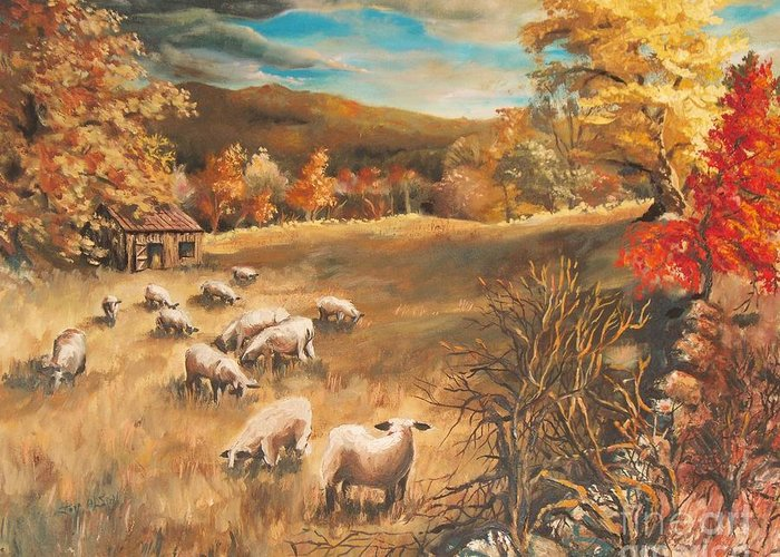 Oil Painting Greeting Card featuring the painting Sheep in October's field by Joy Nichols