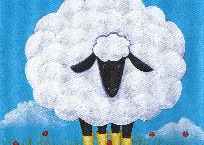 Sheep Greeting Card featuring the painting Sheep Nursery Art by Christy Beckwith